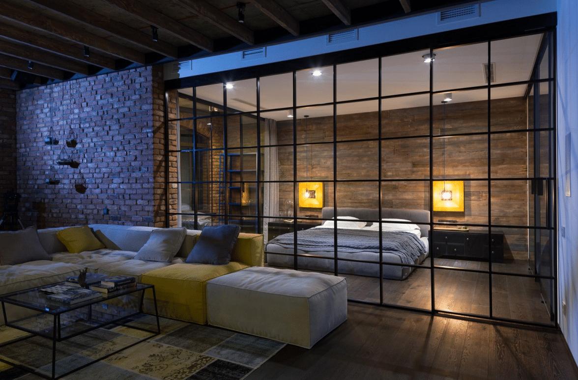 Un departamento inspirado en un estilo industrial - Loft industriel martin architectes kiev ...