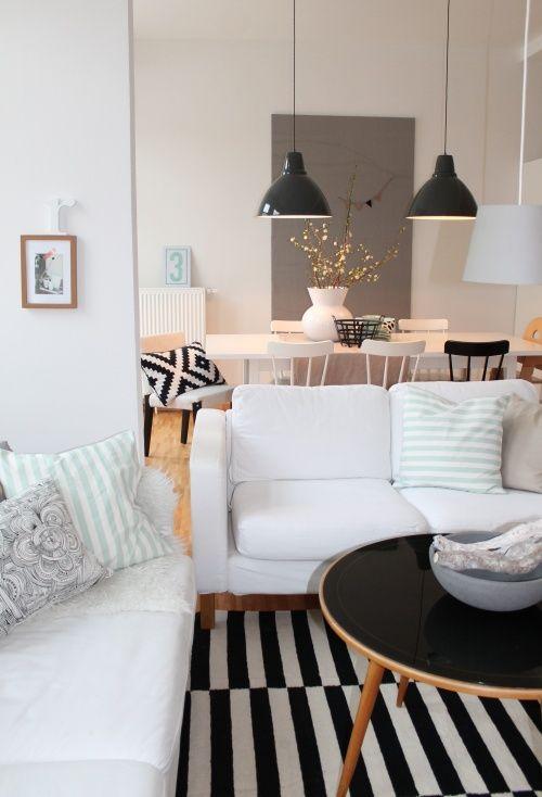 10 ideas para combinar una alfombra de rayas en blanco y negro