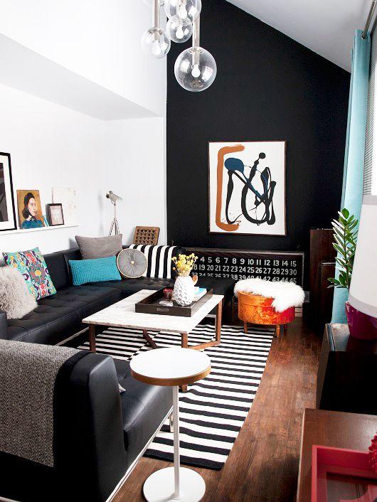 10 ideas para combinar una alfombra de rayas en blanco y for Combinar colores decoracion