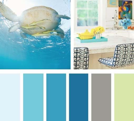 Lemonbe colores del agua for Cocina pintura pato azul